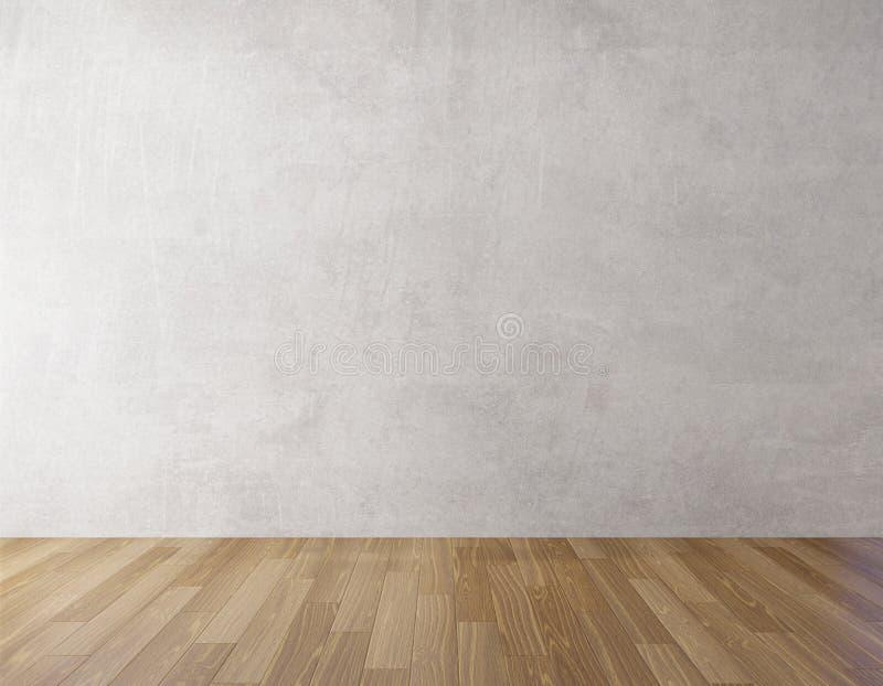 Mur en béton de fond et moquerie en bois de plancher, rendu 3d illustration de vecteur