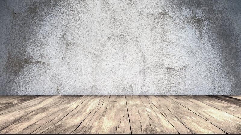 Mur en béton et étage en bois illustration de vecteur