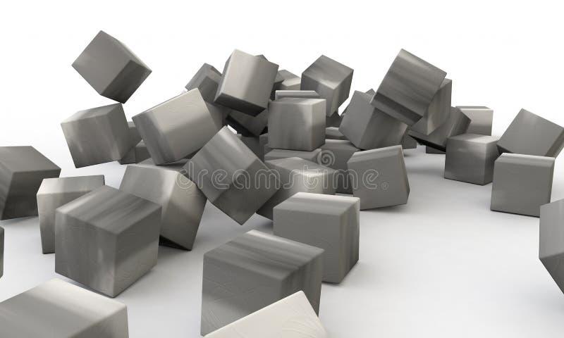 Mur en béton tridimensionnel d'objet abstrait illustration libre de droits