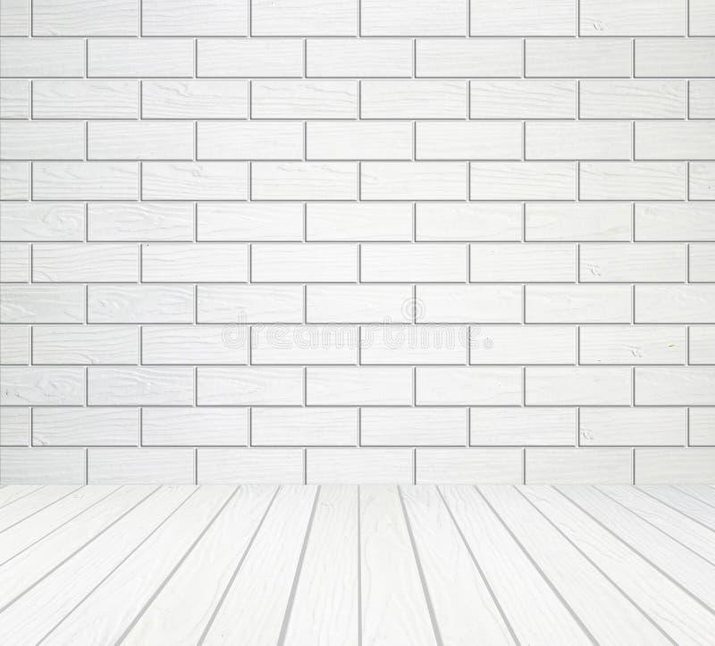 Mur en bois blanc (style de bloc) et fond en bois de plancher image libre de droits