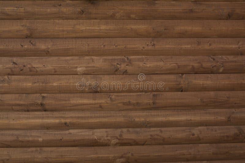 Mur en bois de Brown Projectile de plan rapproché photographie stock libre de droits