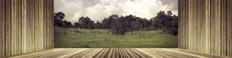 Mur en bois et plancher vides avec la forêt verte fraîche contre le ciel images stock