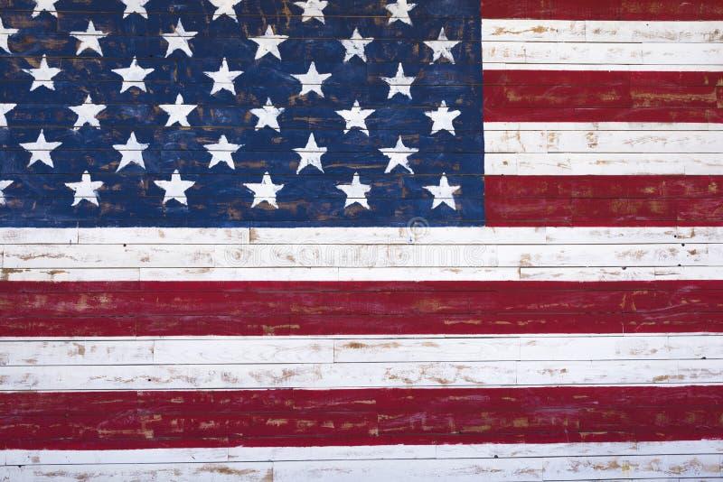 Mur en bois peint d'onn de drapeau américain photo libre de droits