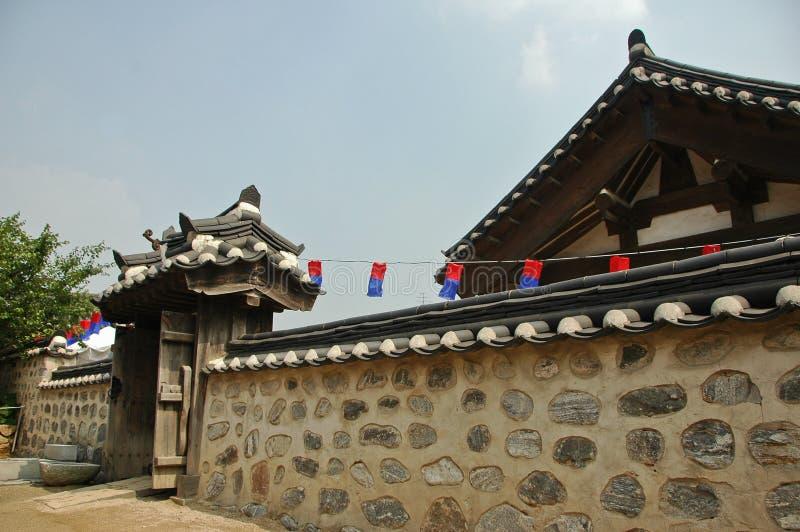 Mur en pierre antique de palais coréen image libre de droits