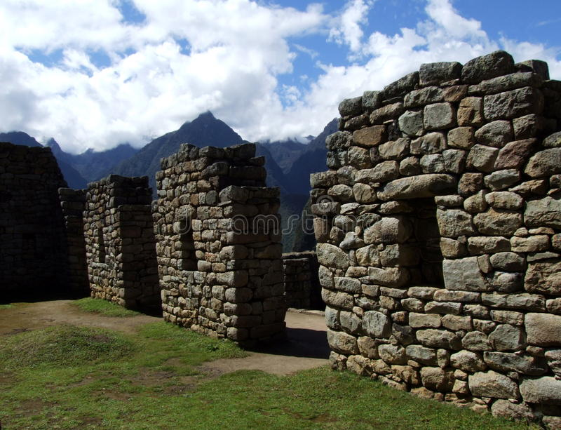 Mur en pierre chez Machu Picchu images stock