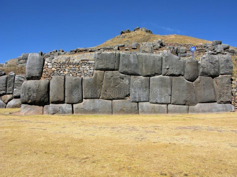 Mur en pierre d'Inca chez Saqsaywaman, Cusco, Pérou photo libre de droits
