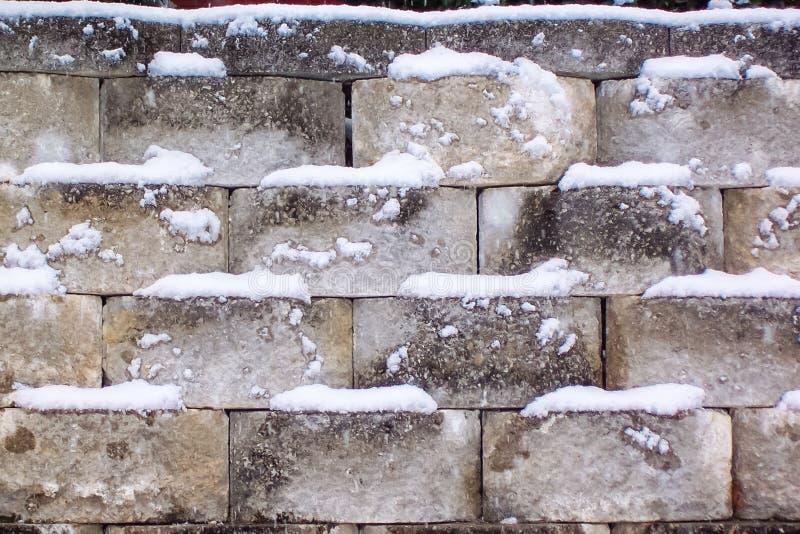 Mur en pierre de Milou un jour froid d'hiver photos libres de droits