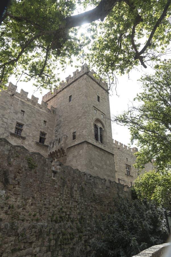 Mur externe du palais du maître grand des chevaliers de Rhode photographie stock libre de droits