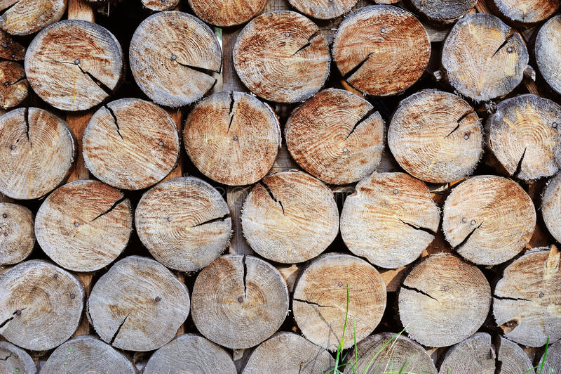 Mur fait de bois empilé photo stock