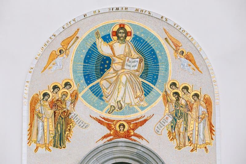 Mur Frescoed de la toute l'église de saints à Minsk photos stock