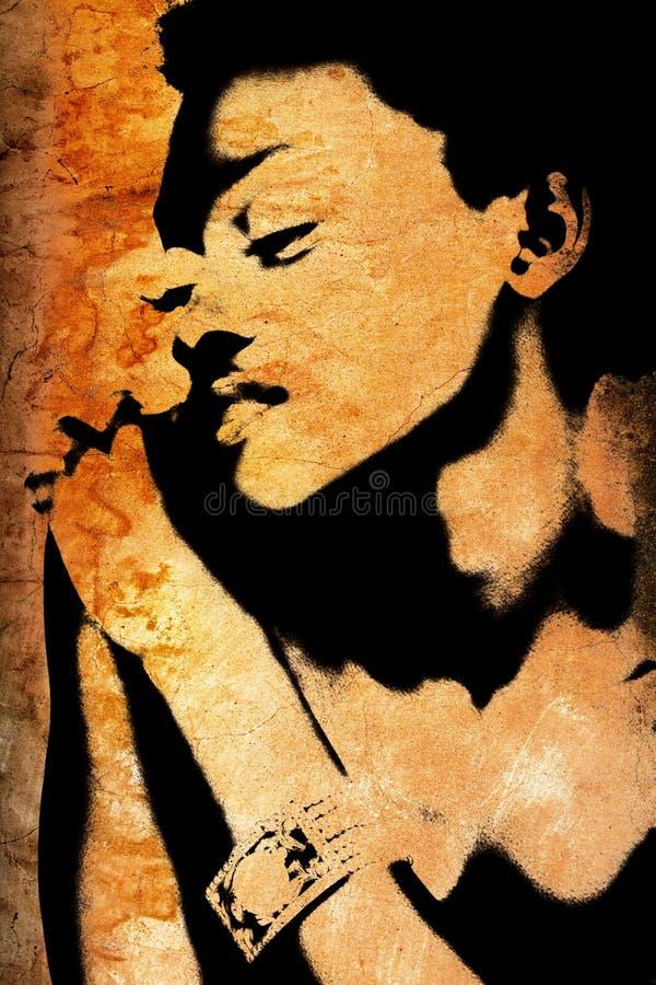 Mur grunge avec le visage du femme africain illustration stock