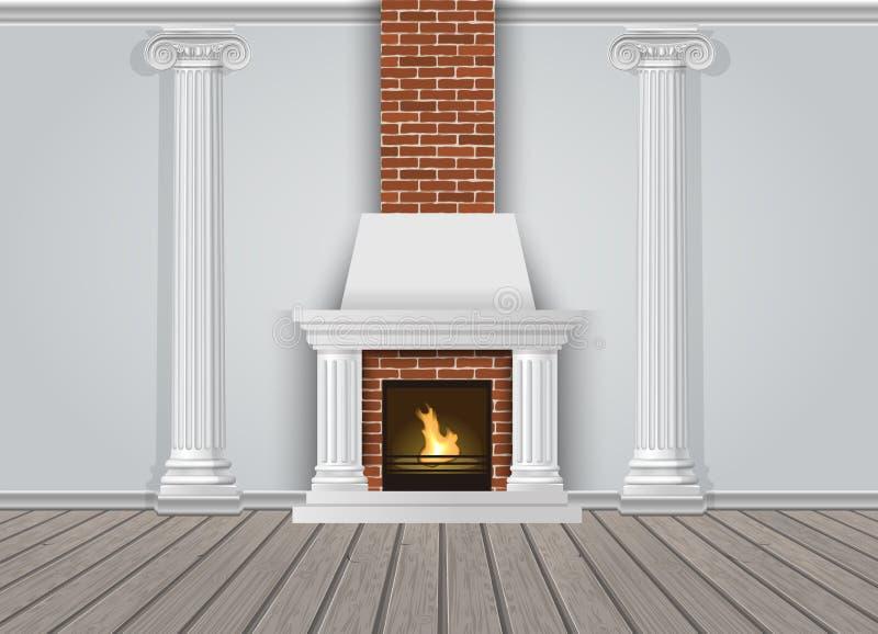 Mur intérieur classique avec la cheminée illustration stock