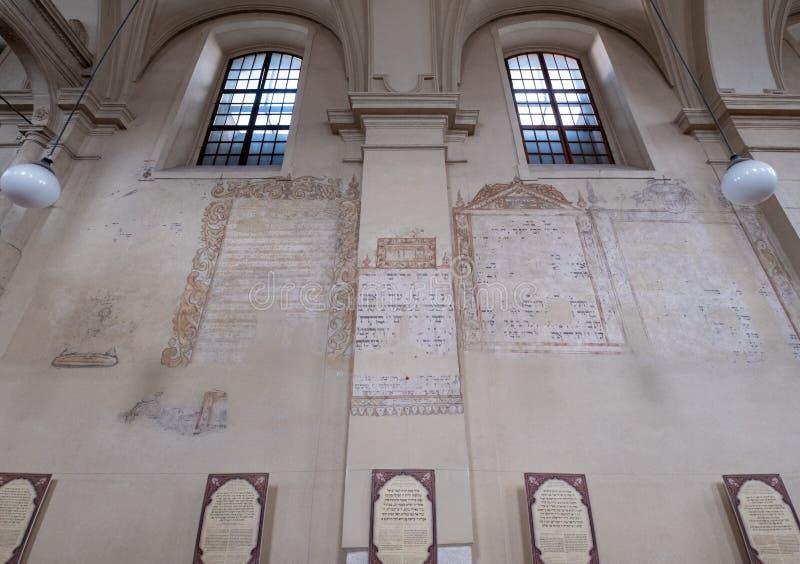 Mur intérieur de la synagogue d'Izaak dans Kazimierz, le quart juif historique de Cracovie, Pologne images stock