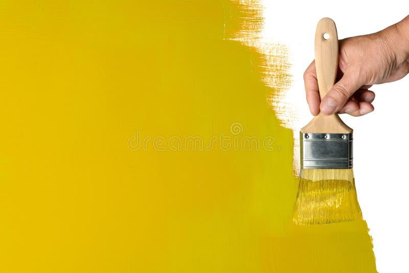 Mur jaune de peinture image stock