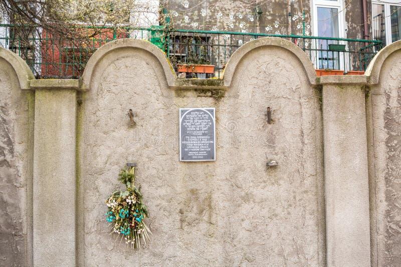 Mur juif de ghetto, Cracovie, Pologne image libre de droits