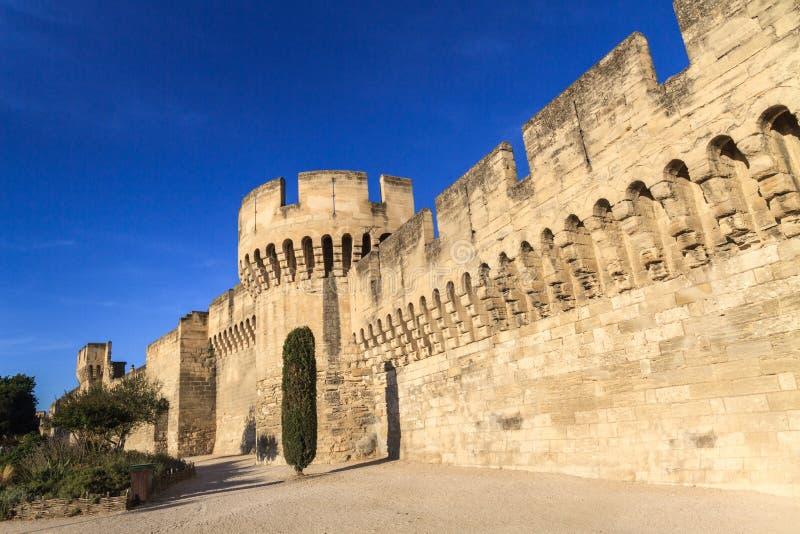 Mur médiéval de ville d'Avignon image libre de droits