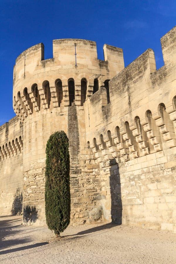 Mur médiéval de ville d'Avignon image stock