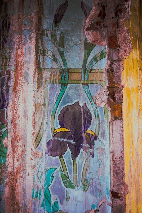 Mur moderniste avec l'art floral illustration de vecteur