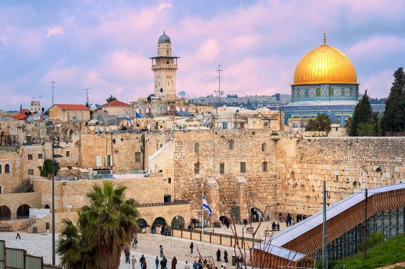 Mur occidental et le dôme de la roche, Jérusalem, Israël photos libres de droits