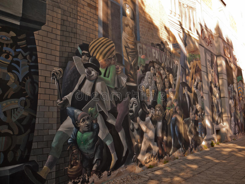 Mur peint d'une maison, Halle, Allemagne photographie stock