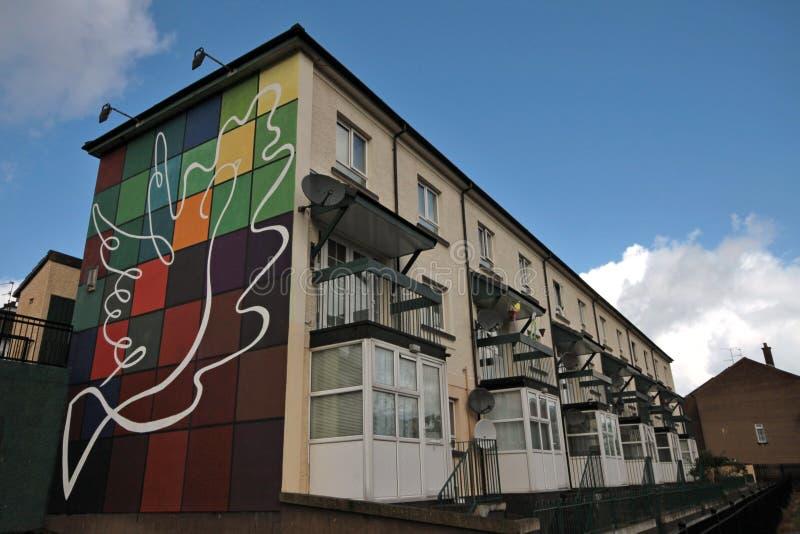 Mur-peintures ensanglantées de dimanche à Londonderry image stock