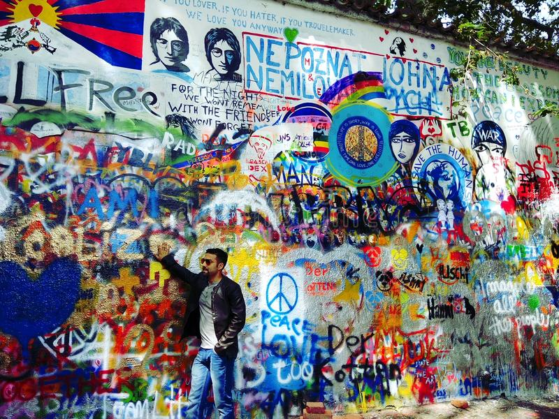 Mur Prague de Lenon image libre de droits