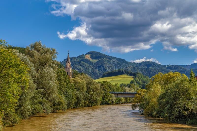 Mur rivier in Leoben, Oostenrijk royalty-vrije stock afbeelding