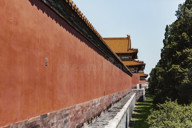 Mur rouge du palais interdit dans Pékin, Chine photographie stock