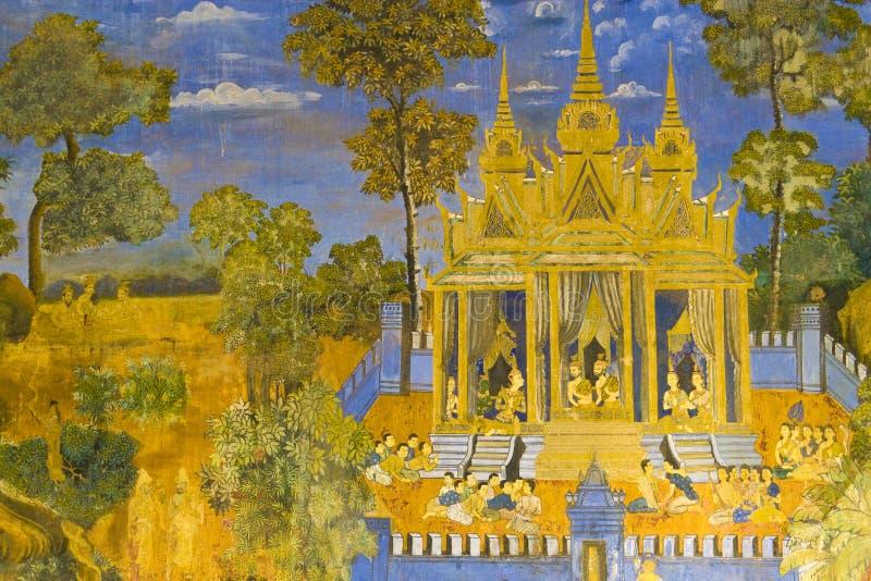 mur royal de palais cambodgien de peinture illustration libre de droits