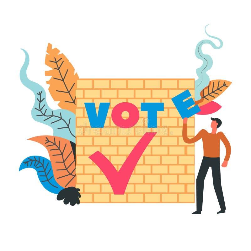 Mur se tenant prêt d'homme de vote avec les polices et le feuillage illustration libre de droits