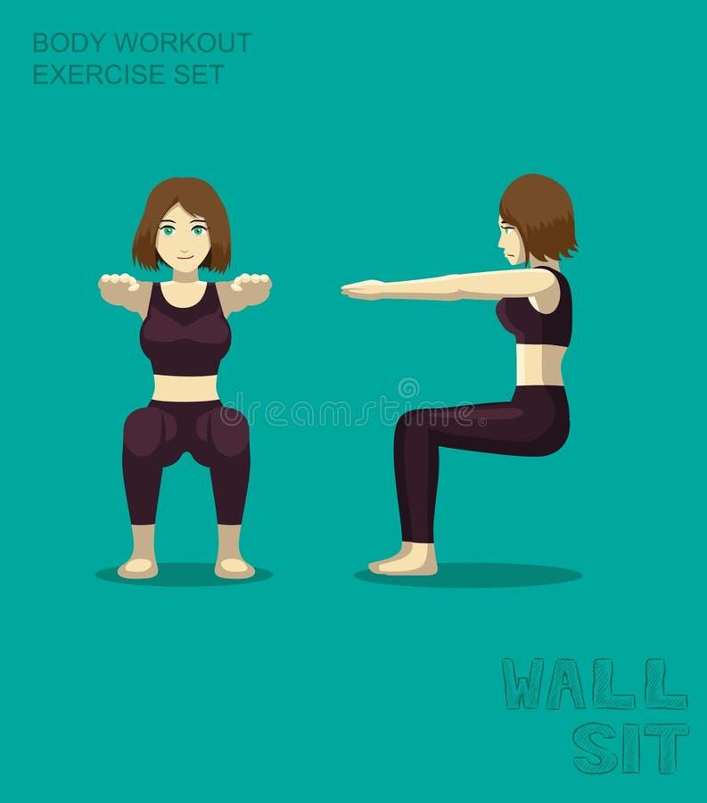 Mur Sit Body Workout Exercise Set Manga Cartoon Vector illustration de vecteur