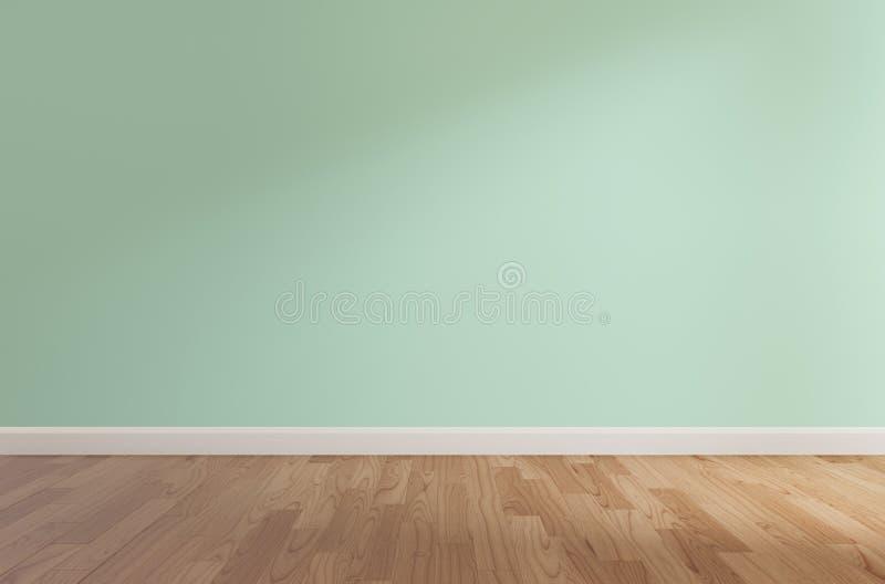 Mur vert et plancher en bois, rendu 3d illustration libre de droits