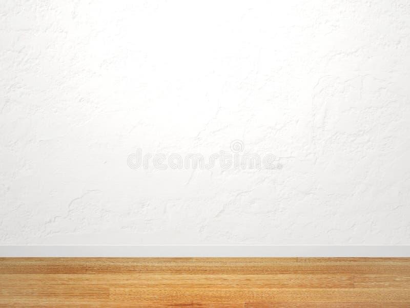 Mur vide de stuc de couleur blanche et de nouveau plancher de parquet illustration de vecteur