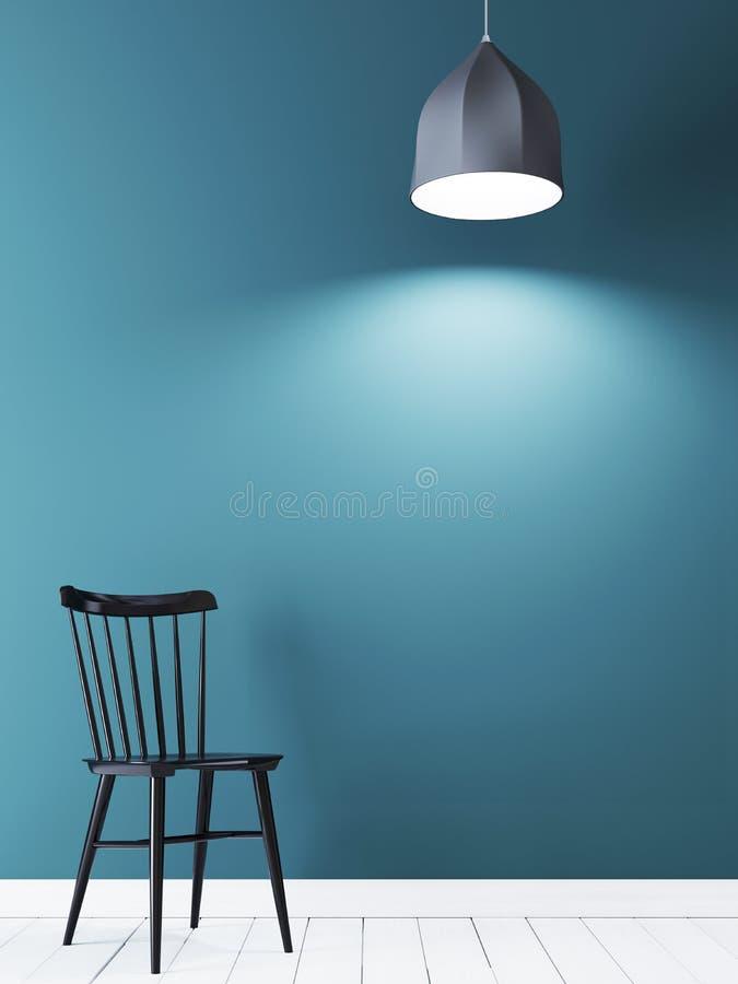 Mur vide pour la moquerie sur le mur bleu avec la chaise noire et la lampe dans l'intérieur minimaliste illustration stock
