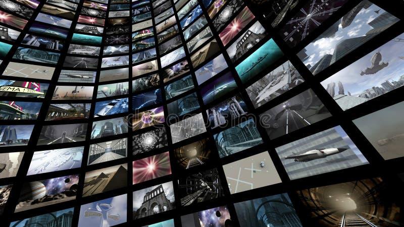 Mur visuel avec beaucoup d'images d'écran photographie stock libre de droits