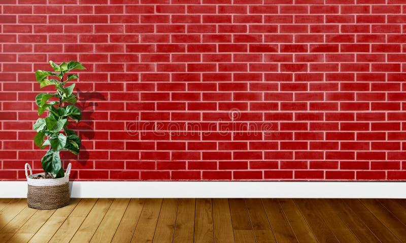 Mura di mattoni rossi con i pavimenti di legno ed albero con luce naturale per fotografia del fondo immagine stock libera da diritti