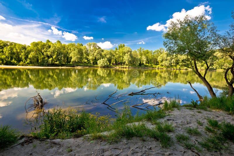 Mura and Drava rivers mouth. On border of Croatia and Hungary, water landscape of Podravina region royalty free stock photo