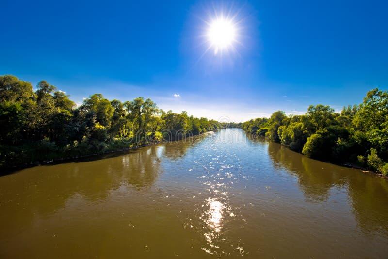 Mura river landscape and flow view. Medjimurje region, border of Croatia and Slovenia stock photos
