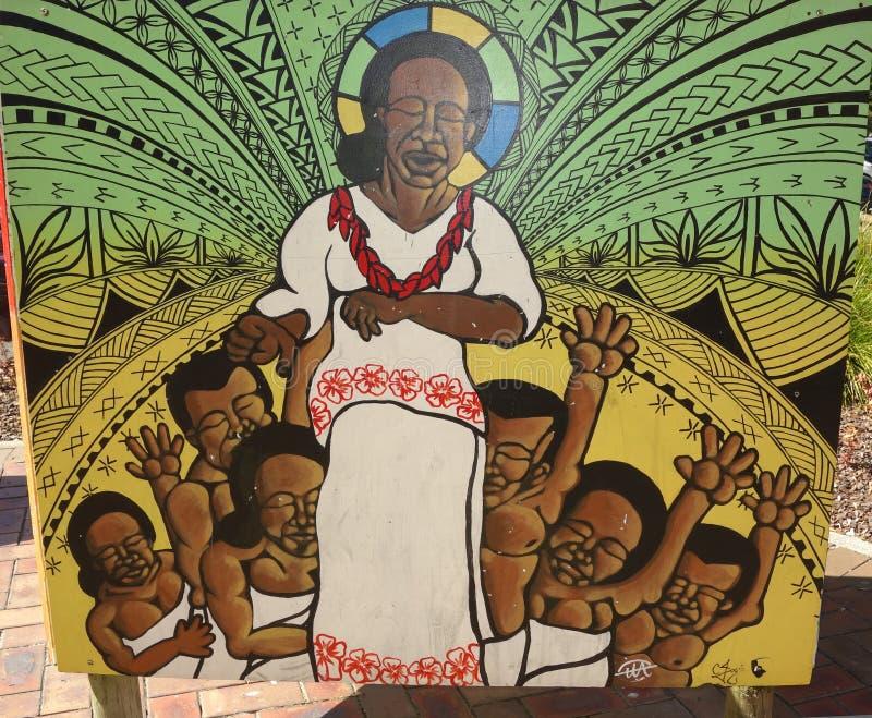 Mural étnico de la gente de South Pacific imagenes de archivo