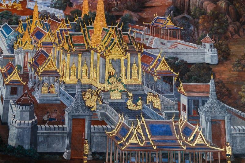 Mural έργα ζωγραφικής σε Wat Phra Kaew, Μπανγκόκ στοκ φωτογραφία με δικαίωμα ελεύθερης χρήσης