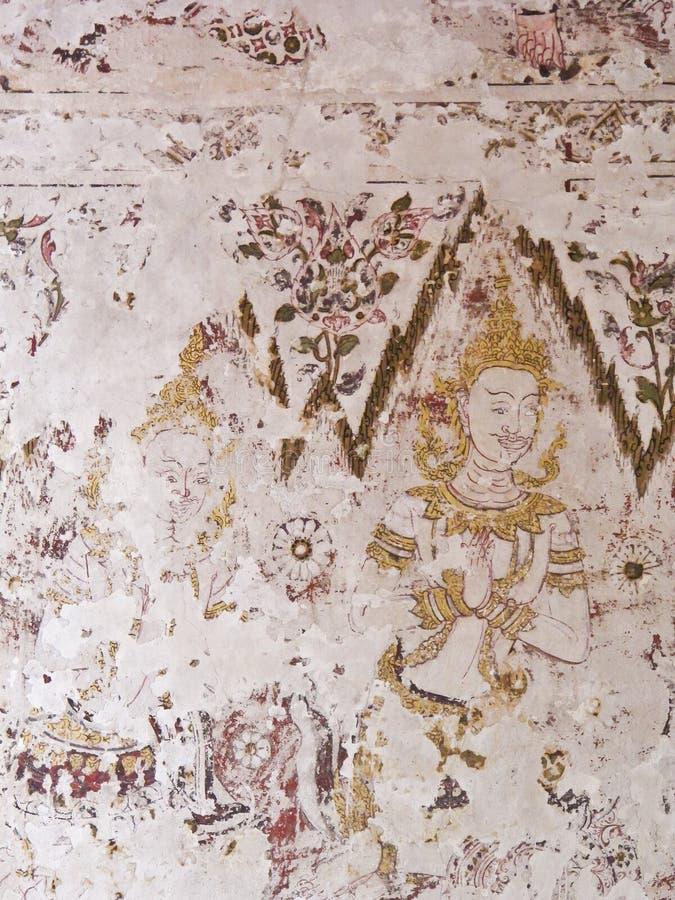 Mural έργα ζωγραφικής σε Wat Yai Suwannaram στοκ φωτογραφία