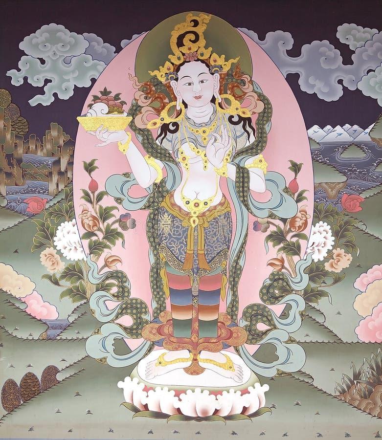 Mural ζωγραφική στο Trashi Chhoe Dzong, Thimphu, Μπουτάν στοκ φωτογραφίες