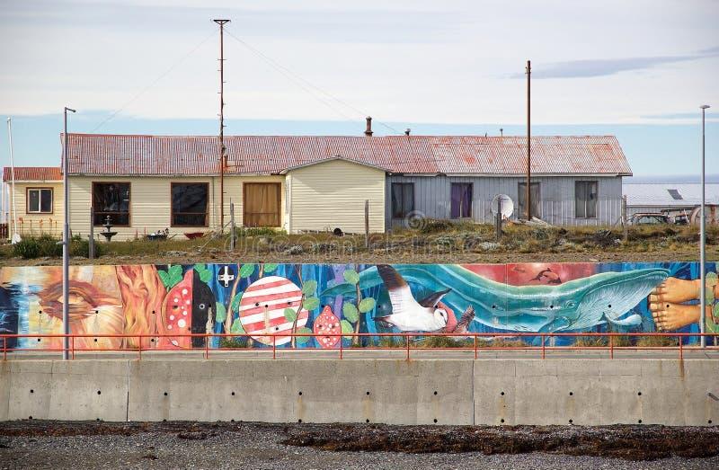 Mural τέχνη σε Bahia Azul στη Γη του Πυρός κατά μήκος του στενού Magellan, Χιλή στοκ εικόνα με δικαίωμα ελεύθερης χρήσης