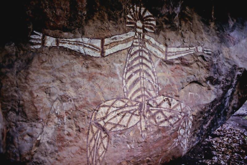 Mural aborigen de la cueva foto de archivo libre de regalías