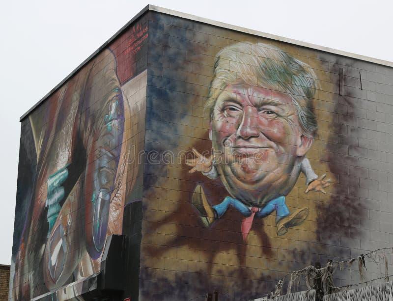 Mural art depicting Donald Trump at Troutman Street in Brooklyn. NEW YORK - MARCH 7, 2017: Mural art depicting Donald Trump at Troutman Street in Brooklyn stock image