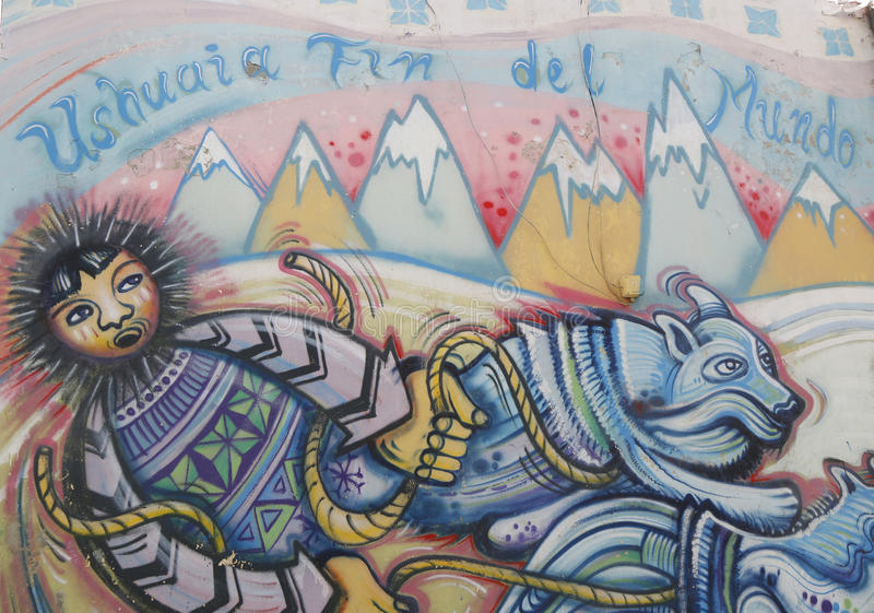 Mural art in Ushuaia, Argentina stock images