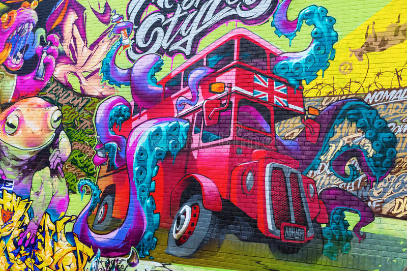 Mural art on a wall in the city of London, UK royalty free stock images