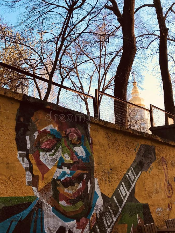A mural of BB King decorates a wall in the heart of Kyiv - KYIV - UKRAINE royalty free stock image