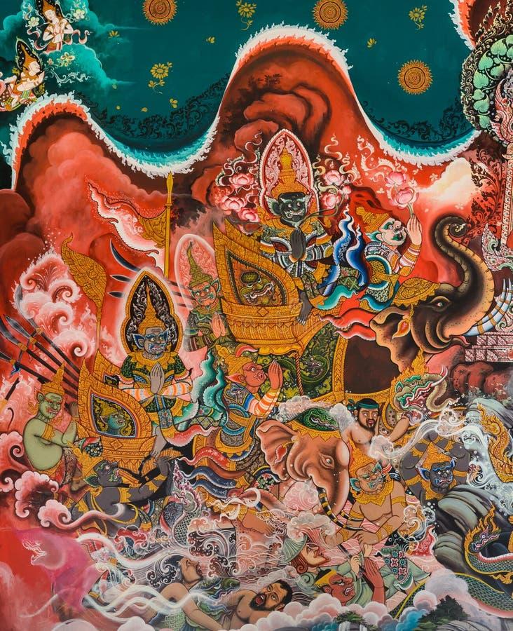 Mural budista tailandés fotos de archivo