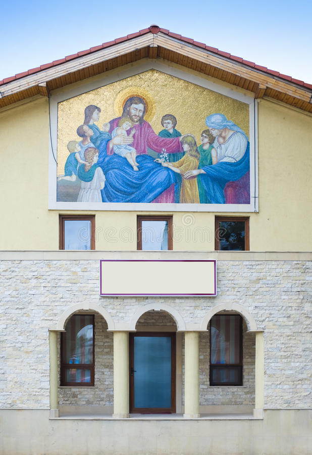 Download Mural on a church wall stock photo. Image of jesus, entrance - 15008026